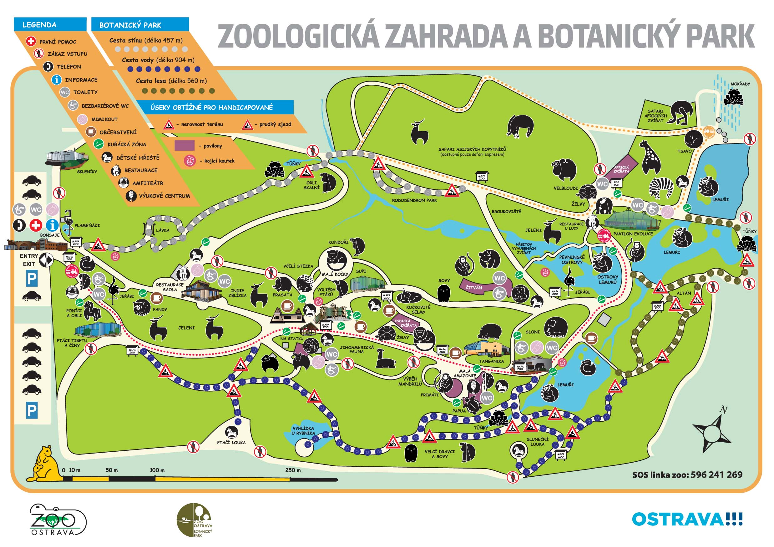 Ostrava Zoo A large zoo with many animals and a large botanical