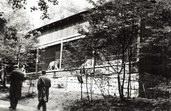 původní dřevěný pavilon pro kočkovité šelmy